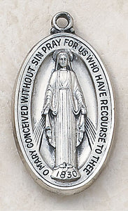 "STERLING MIRACULOUS MEDAL/1.5"" H - SS1645 - Catholic Book & Gift Store"