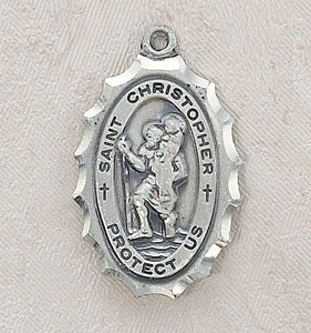 STERLING ST CHRISTOPHER/SCALLOPED EDGE - SS9870 - Catholic Book & Gift Store