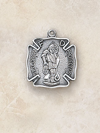 STERLING ST FLORIAN/MED BADGE - SS994 - Catholic Book & Gift Store