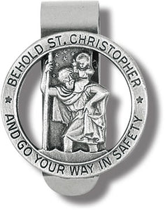ROUND ST CHRISTOPHER/VISOR CLIP - V5008 - Catholic Book & Gift Store