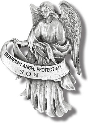 GUARDIAN ANGEL/SON VISOR CLIP - V5081 - Catholic Book & Gift Store