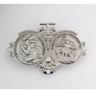 PEWTER/ST CHRISTOPHER & ST MICHEAL VISOR CLIP - VC-909 - Catholic Book & Gift Store