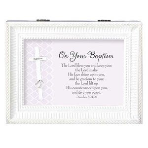 ON YOUR BAPTISM LARGE WHITE MUSIC BOX BAPTISM COLLECTION
