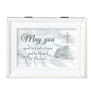 MAY YOU GROW... WHITE LARGE MUSIC BOX BAPTISM COLLECTION