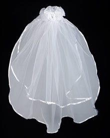 SATIN AND SHEER ROSEBUDS FIRST COMMUNION VEIL - WC526 - Catholic Book & Gift Store