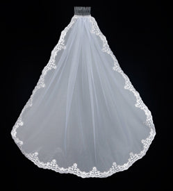 LACE EDGE MANTILLA FIRST COMMUNION VEIL - WC528 - Catholic Book & Gift Store