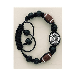 BLACK CORD BRACELET/FOOTBALL W/ ST SEBASTIAN - BR735C - Catholic Book & Gift Store