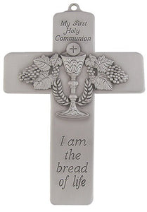 "5"" PEWTER MESSAGE CROSS/BREAD OF LIFE - JC-3205-E - Catholic Book & Gift Store"