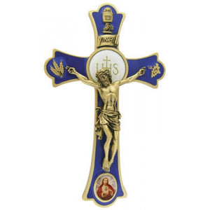 "8"" HOLY MASS CRUCIFIX W/SACRED HEART (COLORED) - JC-3232-L"
