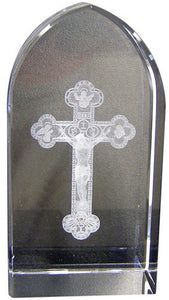 "3.25"" ETCHED GLASS CRUCIFIX - JC-4401 - Catholic Book & Gift Store"