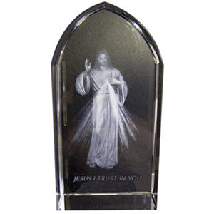 "3.25""X1.5"" DIVINE MERCY/ETCHED GLASS - JC-4414 - Catholic Book & Gift Store"