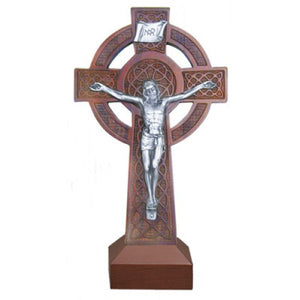 "8"" KNOTTED WOOD CELTIC CRUCIFIX - JC-5024-E"