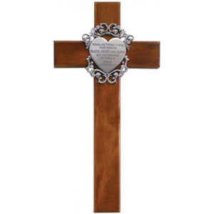 "10"" CHERRY WOOD CROSS/FAITH,HOPE, LOVE - JC-5027-E"