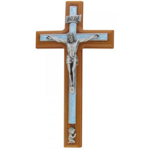 "8"" CRUCIFIX W/ BLUE PEARLIZED - JC-5141-E"