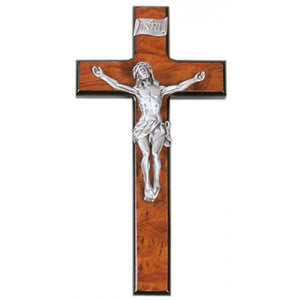 "10"" BLACK BURL WOOD CRUCIFIX - JC-7045-E - Catholic Book & Gift Store"
