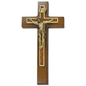"10"" WALNUT CRUCIFIX W/FLORAL EPOXY - JC-7117-L - Catholic Book & Gift Store"