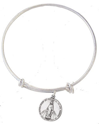 MIRACULOUS MEDAL/SILVER PLATED CHARM BANGLE - JC2143-BGL - Catholic Book & Gift Store
