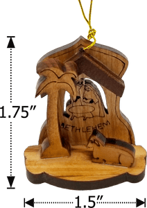 BOXED SET OF 4 OLIVE WOOD NATIVITY ORNAMENTS