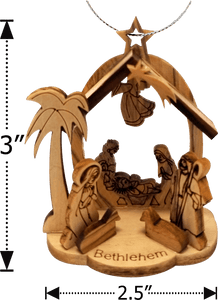 "3""H OLIVE WOOD NATIVITY W/GROTTO ORNAMENT"