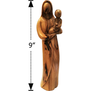 "9""H OLIVE WOOD MADONNA WITH CHILD FIGURE"