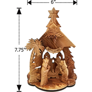 "7.75""H OLIVE WOOD MUSICAL NATIVITY GROTTO"