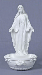"7.5"" OUR LADY OF GRACE HOLY WATER FONT - SR-75377-W - Catholic Book & Gift Store"