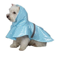 East Side Collection Dog Hooded Rain Jackets / Coats Reflective Strip - Polka Dot Blue