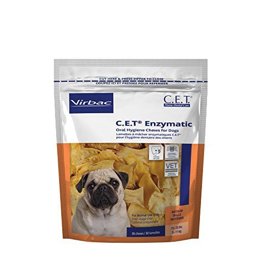 Virbac CET Enzymatic Oral Hygiene Chews, Medium Dogs 11-25 lbs, Anti-plaque, 30 count