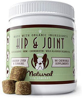 Natural Dog Company - Glucosamine Chondroitin Hip & Joint Chewable Treat - Promotes Mobility, Relieves Arthritis Pain - Chicken Liver & Turmeric Supplement for Dogs - 90 Chews