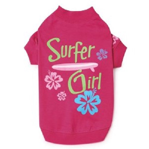 "Casual Canine Surfer Girl T-Shirt for Dogs ""Surf's Up"" Tee - Soft, lightweight"