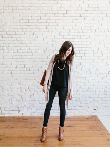black tee and cardigan