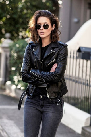 black tee and leather jacket