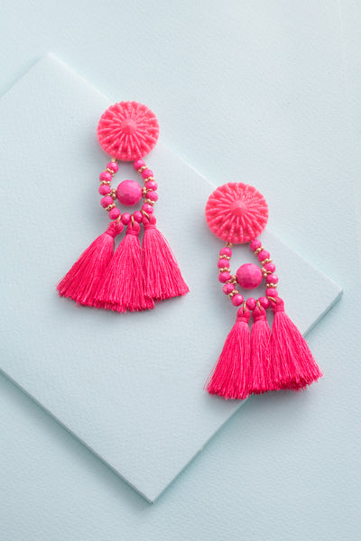 Pink Zoya Tassel Earrings