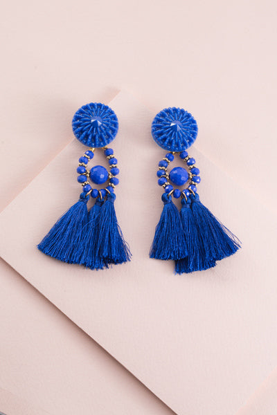 Blue Zoya Tassel Earrings