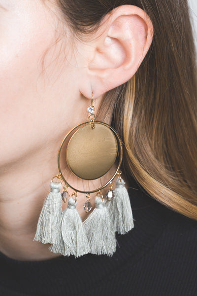 Grey Stone Tassel Earrings