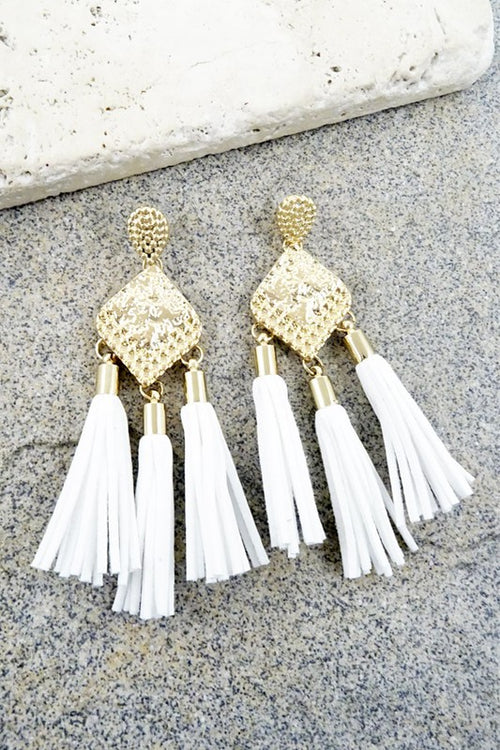 Time to Tassel in White Earrings