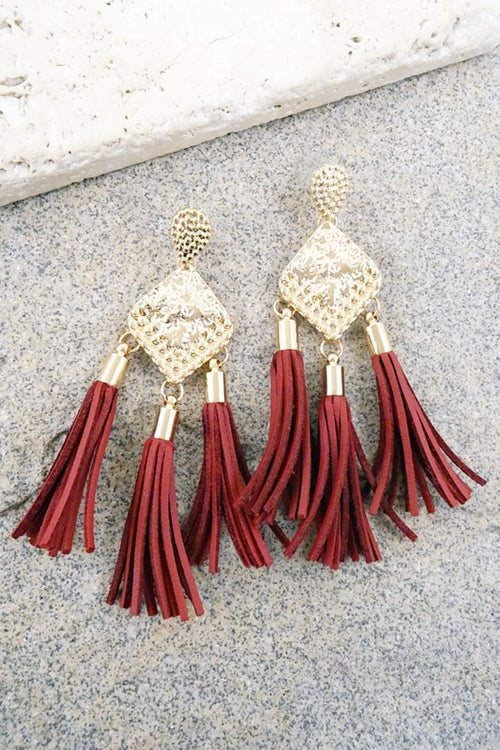 Time to Tassel in Burgundy Earrings