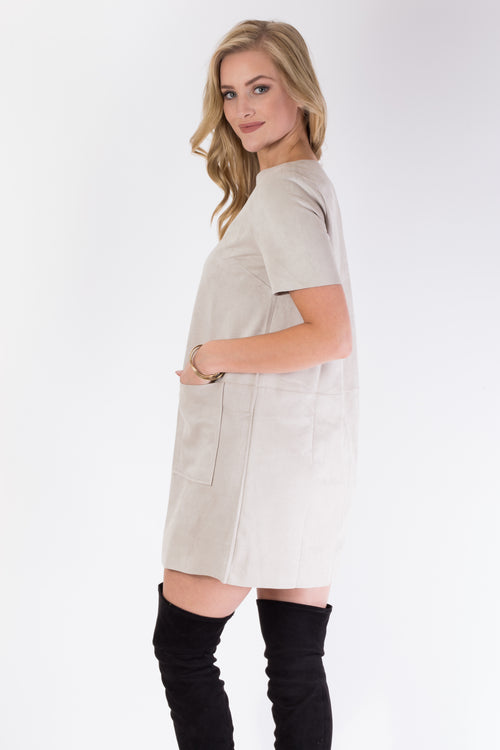 Stone Cold Suede Dress - Simple & Feminine