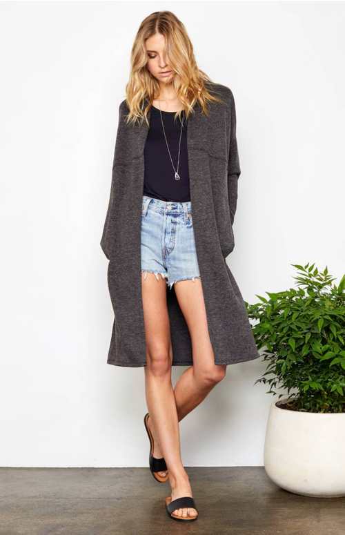 Cozy Up Charcoal Cardigan