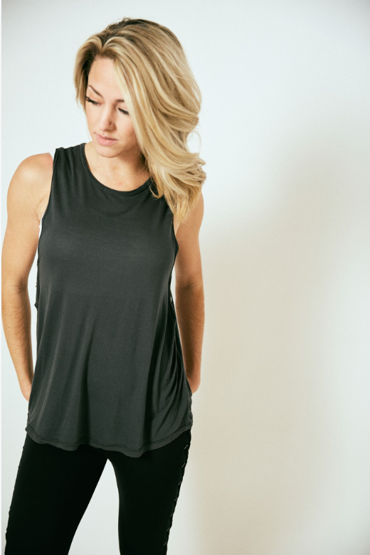 Sideways Charcoal Top