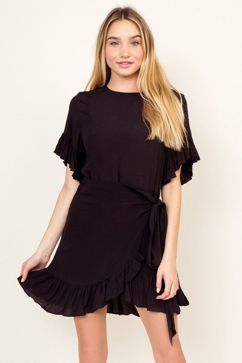 Simplicity Black Wrap Dress