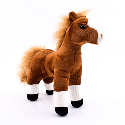 "12"" Stuffed Animal Brown Standing Horse - ADI01284"