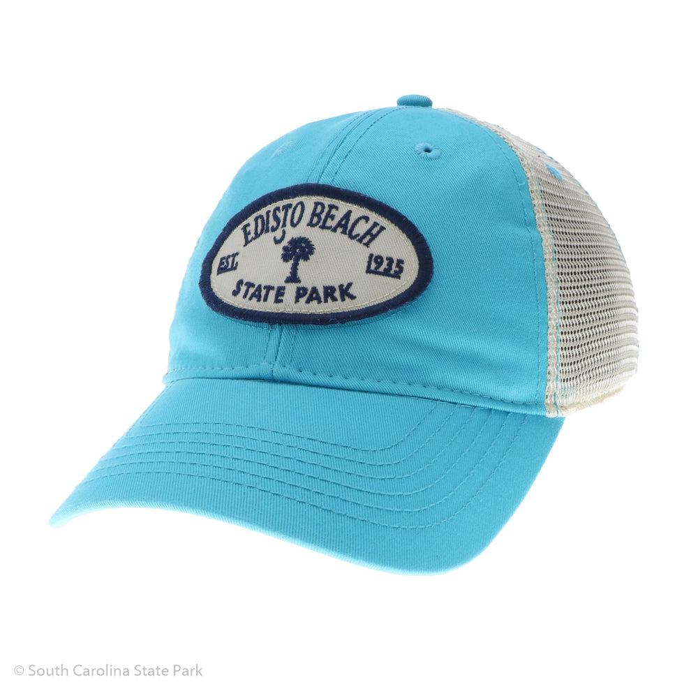 Edisto Beach State Park Trucker Hat with palm and moon