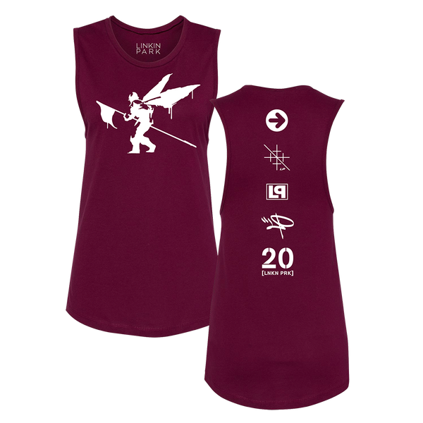 Side Street Soldier LP 20 Ladies Maroon Muscle Tank