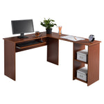 Fineboard L-Shaped Office Corner Desk 2 Side Shelves, Red Walnut