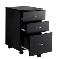 Fineboard 3 Drawer Mobile File Storage Unit on Casters, Black