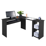 Fineboard L-Shaped Office Corner Desk 2 Side Shelves, Black