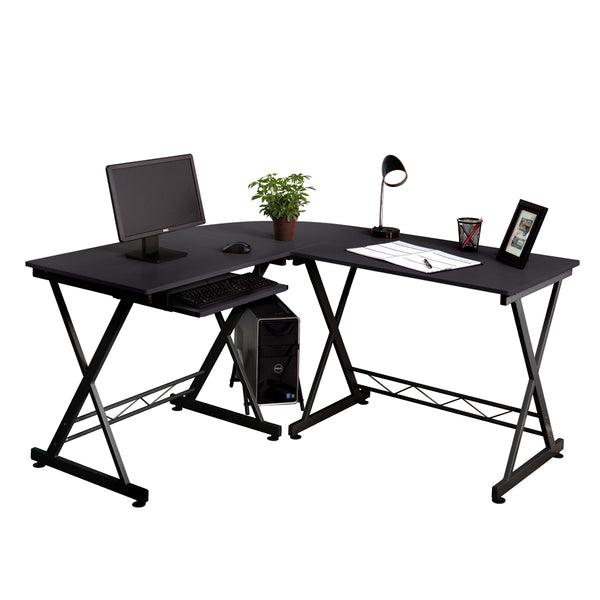 Fineboard Home Office L-Shaped Corner Desk, Black