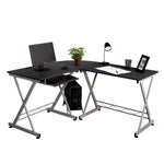 Fineboard Home Office L-Shaped Corner Desk, Black/Silver