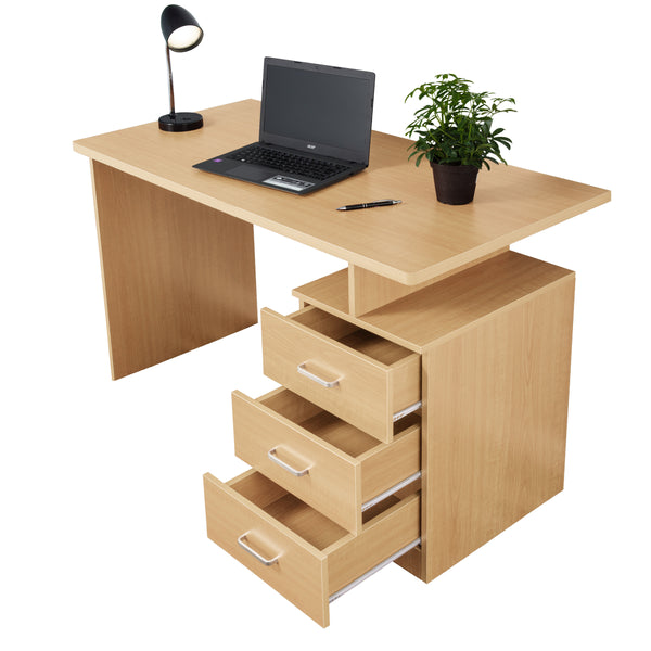 Fineboard Home Office Desk with 3 Drawers, Naturel
